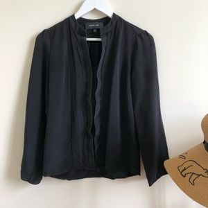 Derek Lam 100% silk black pleated blouse